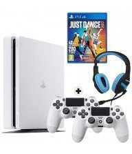 console ps4 slim 500 go blanc + jeux ps4 just dance 2017 + casque konix Tunisie