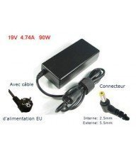 CHARGEUR POUR PC PORTABLE TOSHIBA 19 V 4,74 A 90W Tunisie
