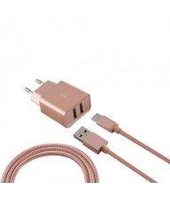 Chargeur réseau métallique USB KSIX 2.4A avec câble micro USB-métallisé rose Tunisie