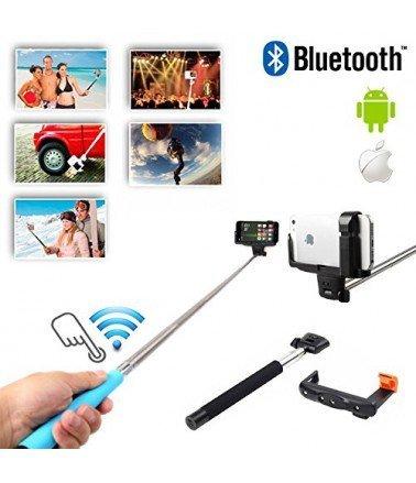 Perche télescopique selfie Bluetooth avec Télécommande Bleu