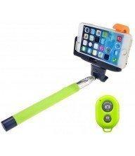 Perche télescopique selfie Bluetooth avec Télécommande Vert Tunisie