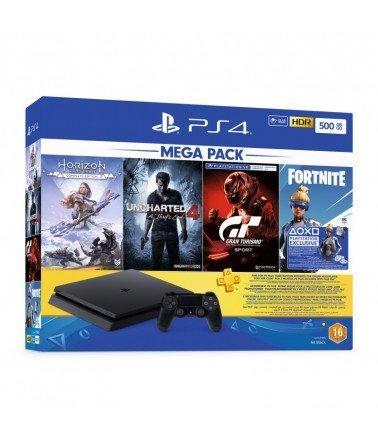 Playstation4 Mega pack 500GB + Horizon Zero Dawn + Uncharterd 4 + Gran Turismo + 3Month Playsation Plus