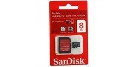 Carte mémoire micro sd Sandisk 8Go avec adaptateur