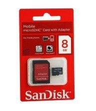 Carte mémoire micro sd Sandisk 8Go avec adaptateur Tunisie