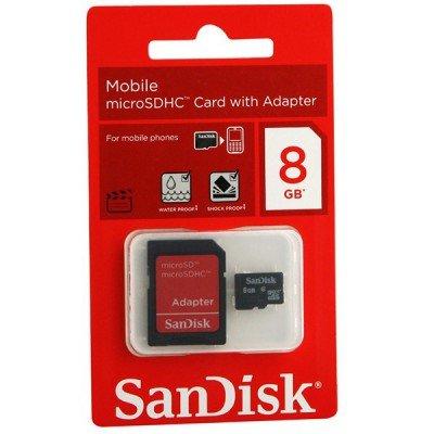 Carte Mémoire Micro SD SANDISK 8 Go avec Adaptateur Tunisie