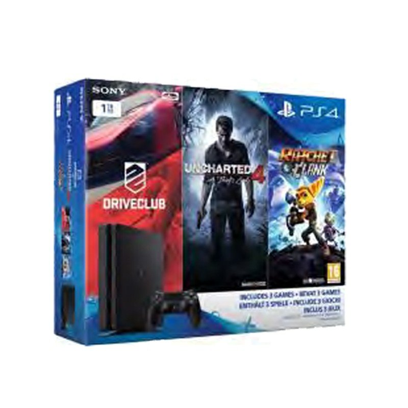 console ps4 1to slim noir pack family driveclub uncharted 4 a thief 39 s end rachet clank. Black Bedroom Furniture Sets. Home Design Ideas