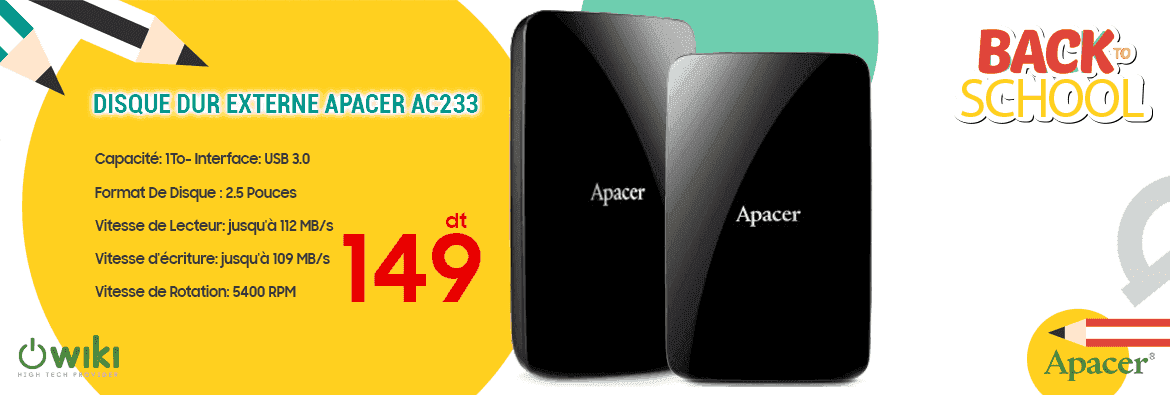 Disque dur externe Apacer 1 to 2,5