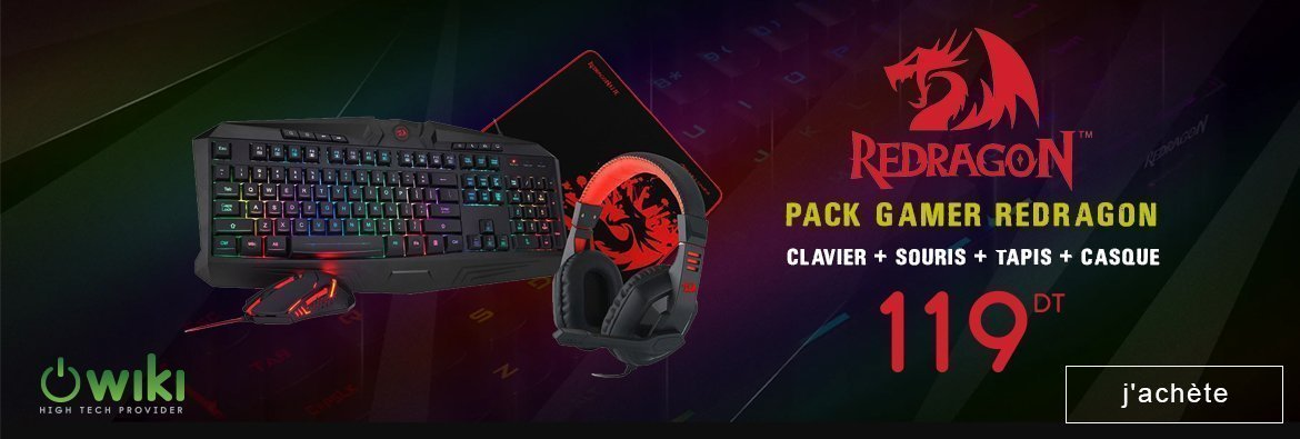 PACK GAMER REDRAGON CLAVIER + SOURIS + TAPIS + CASQUE