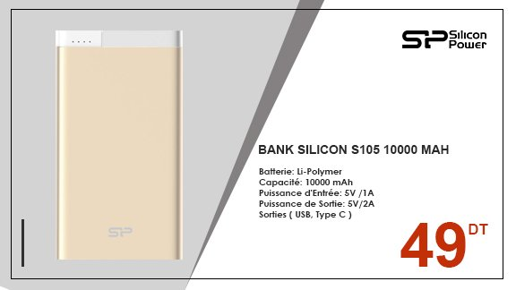 POWER BANK SILICON S105 10000 MAH - CHAMPAGNE
