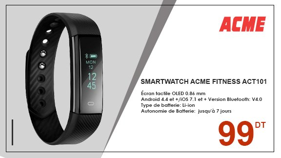SMARTWATCH ACME FITNESS ACT101 - NOIR