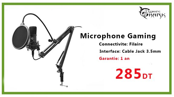 Microphone Gaming WHITE SHARK ZONIS
