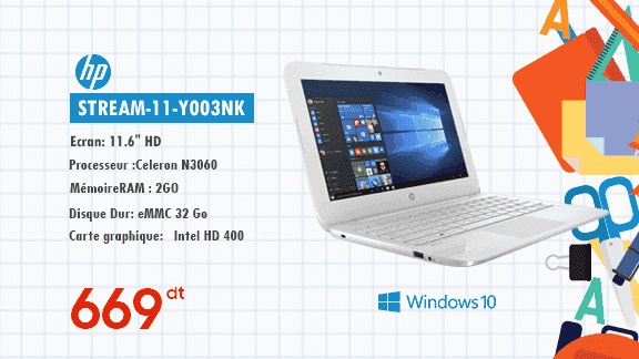 PC PORTABLE HP STREAM-11-Y003NK BLANC